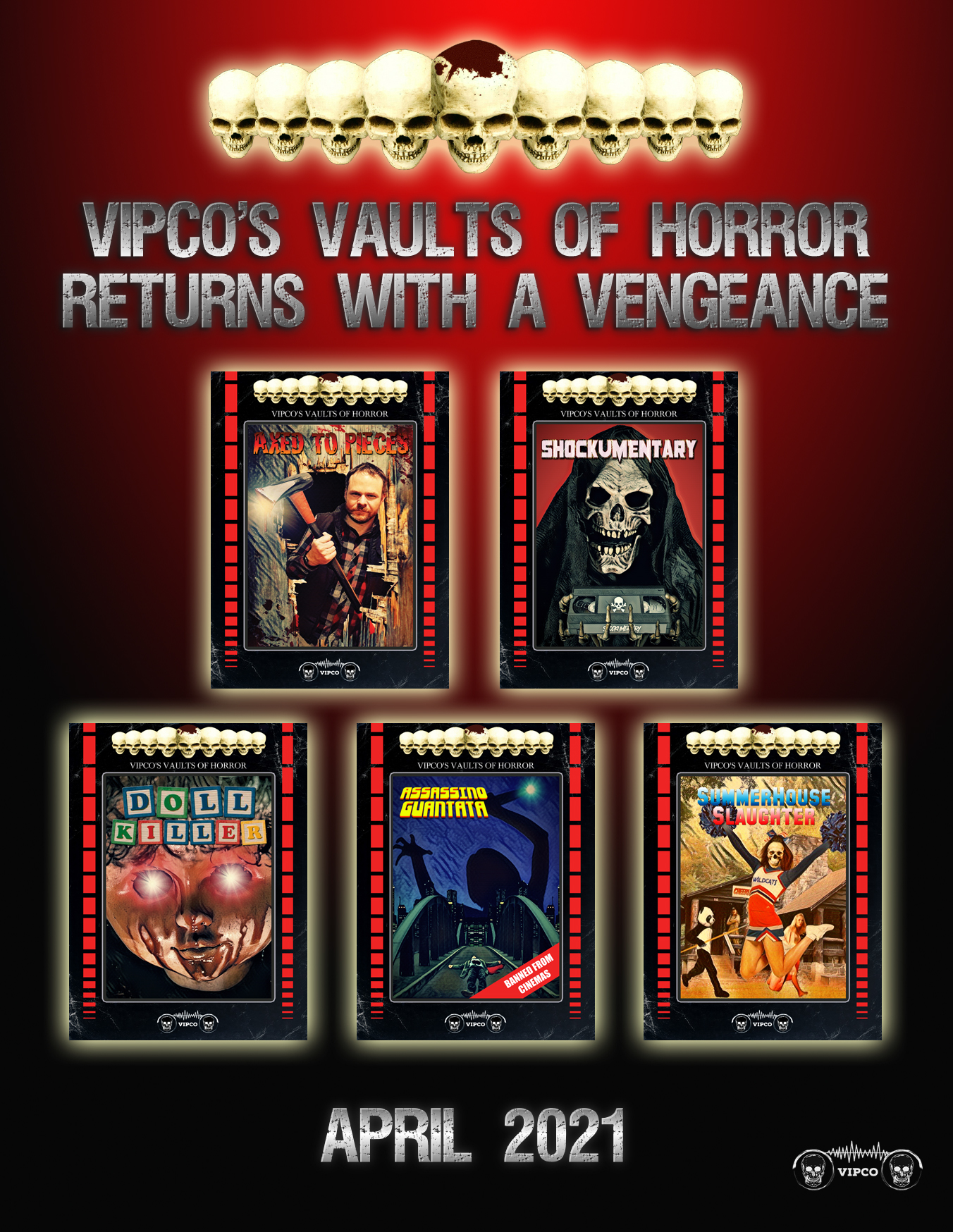 'Vipco's Vaults of Horror' returns this April with 5 all new titles